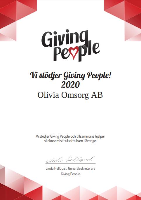 Vi fortsätter vårt stöd till Giving People